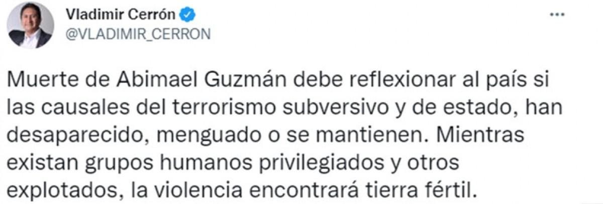Vladimir Cerrón se manifiesta tras muerte de Abimael Guzmán
