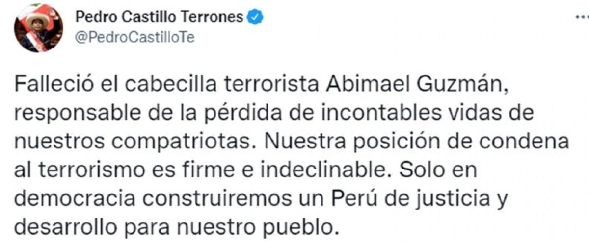 El presidente Pedro Castillo se pronuncia tras la muerte de Abimael Guzmán