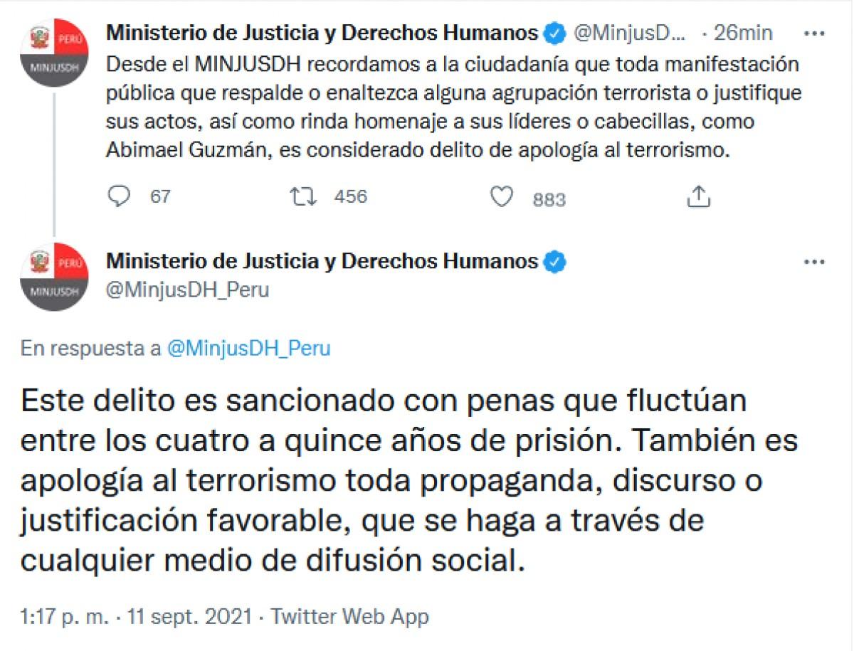 Ministerio de Justicia se pronuncia tras la muerte de Abimael Guzmán