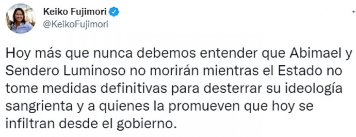 Keiko Fujimori se pronuncia tras la muerte de Abimael Guzmán