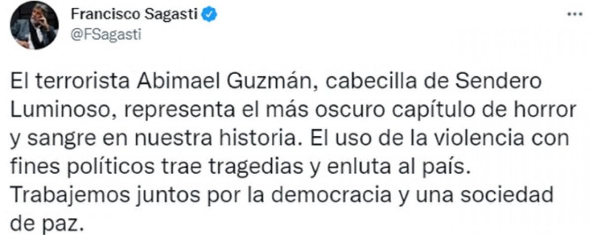Francisco Sagasti se manifiesta tras el fallecimiento de Abimael Guzmán.